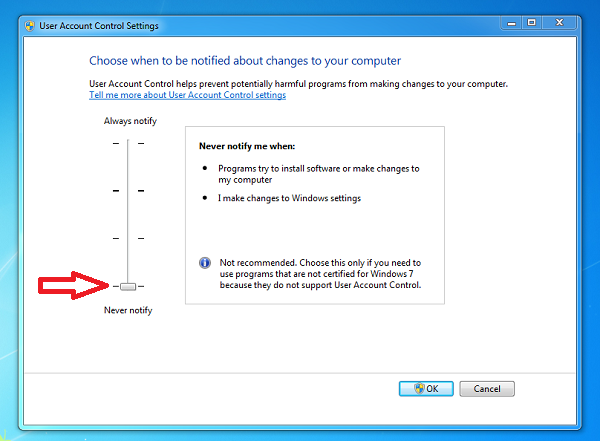 Disable Account Control (UAC) Notifications in Windows 7 & Vista