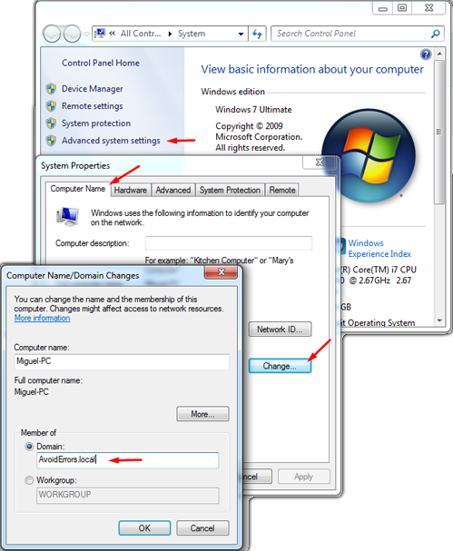 how to delete domain windows 7