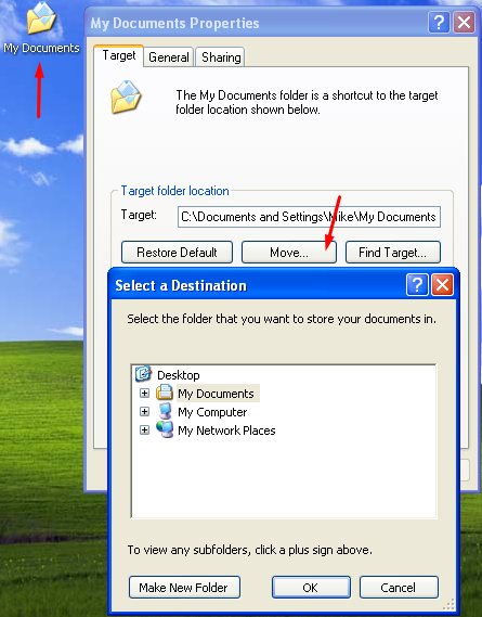 How to move the my documents folder in windows xp for Move my documents xp