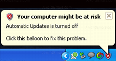 Disable Your Computer Might be at risk Balloon in XP