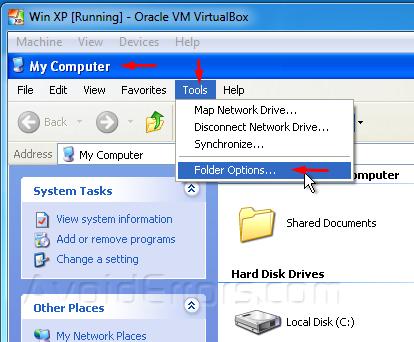 display hidden folders in windows xp