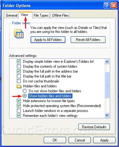 display hidden folders in windows xp2