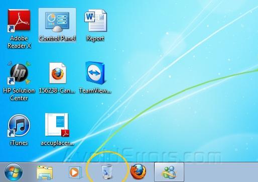 Pin Recycle Bin to Taskbar in Windows 7