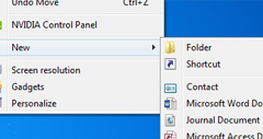 Fix New Folder Is Missing From Right Click Menu Windows 7 and Vista