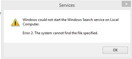 How to Fix Windows 81 Search Service 43