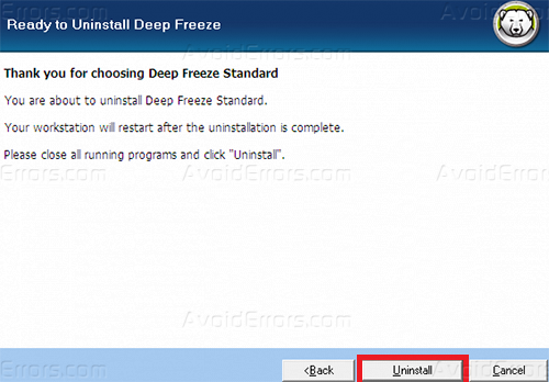 Uninstall deep freeze 3