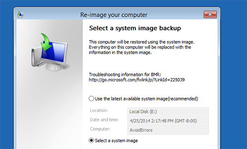 System Backup Image windows 8