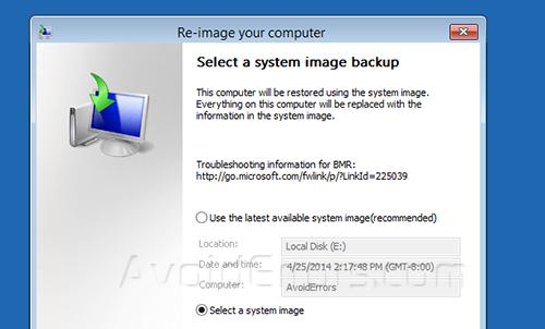 System Backup Image windows 8