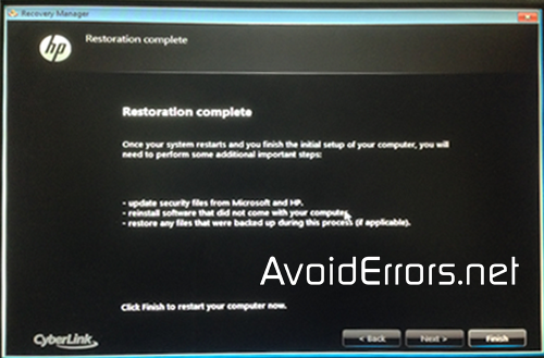 How to restore HP Pavilion back to factory defaults 12