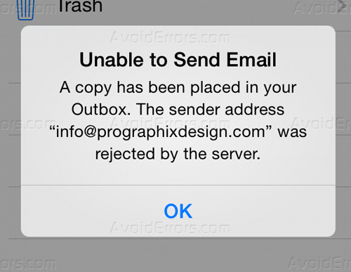iDevice – Unable to Send Email Was Rejected by The Server