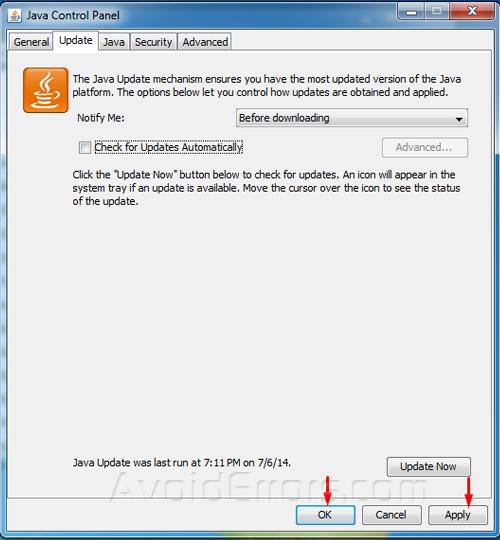 remove java updates 55