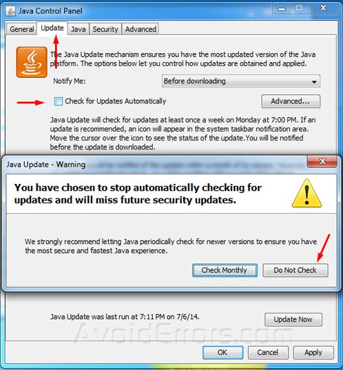 remove java updates 66