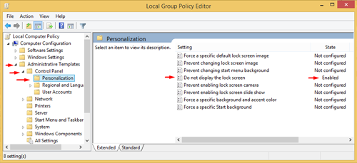 Disable Lock Screen in Windows 8 and 8.1 2