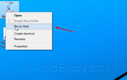 Recycle bin on start 1