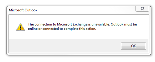 The connection to Microsoft exchange is unavailable