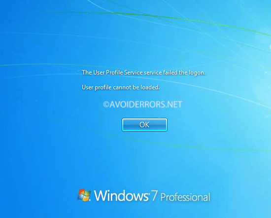 user profile service failed the logon windows server 2012
