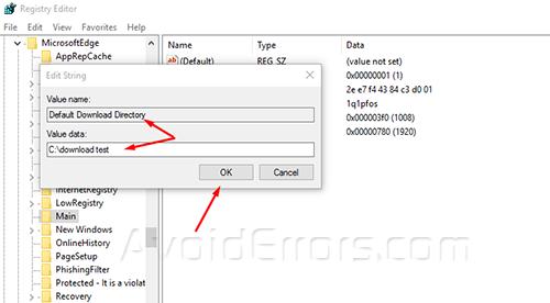 change default download location in edge 5