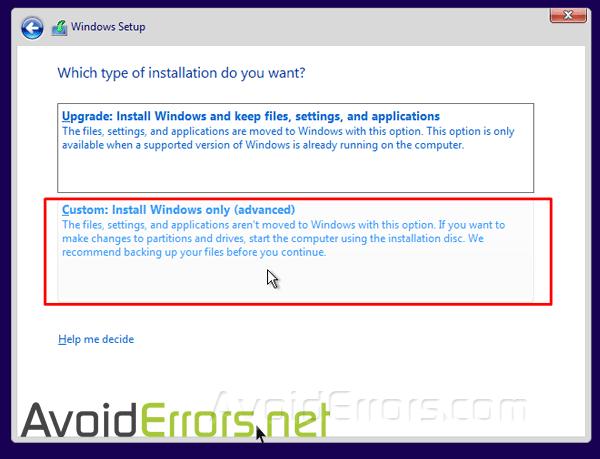 custom-install-windows-only-advance