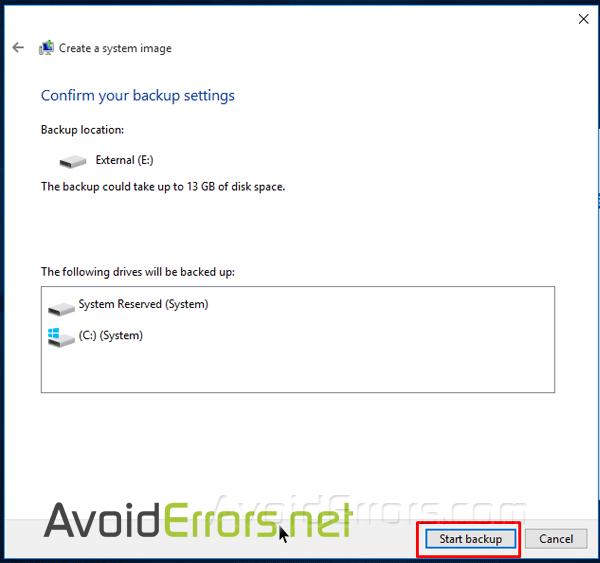 backup windows 10 to external drive