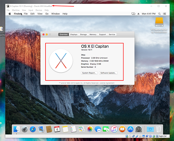 El Capitan on Virtual Box 12