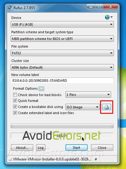Create a Bootable ESXi USB Flash Drive Installer – rufus