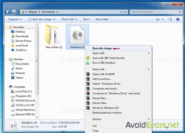 How To Create Windows 10 Bootable DVD from ISO file - AvoidErrors
