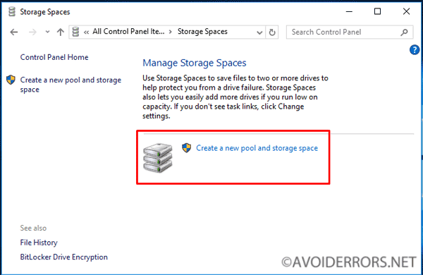 how to make a new storage pool on windows 10