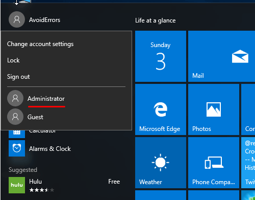 Enable the hidden built in Administrator account in Windows 10 step 9