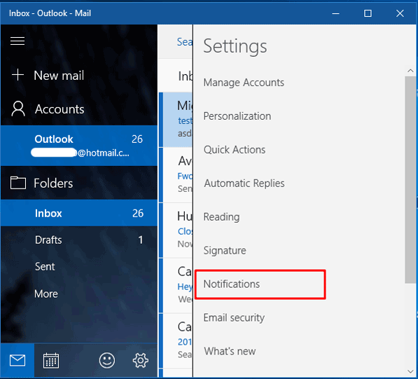 how to turn off the track notification windows 10