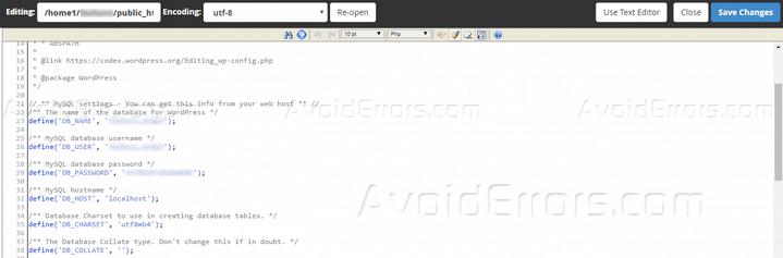 editing wp config wordpress