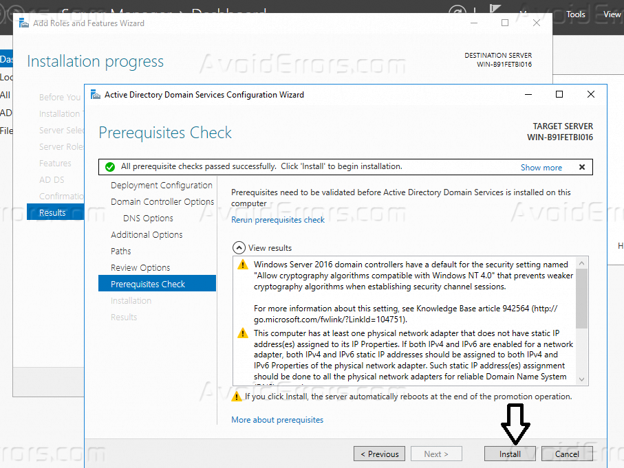 Install Active Directory (AD) In Windows Server 2016
