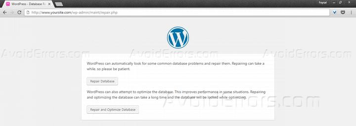 repair wp database frontend