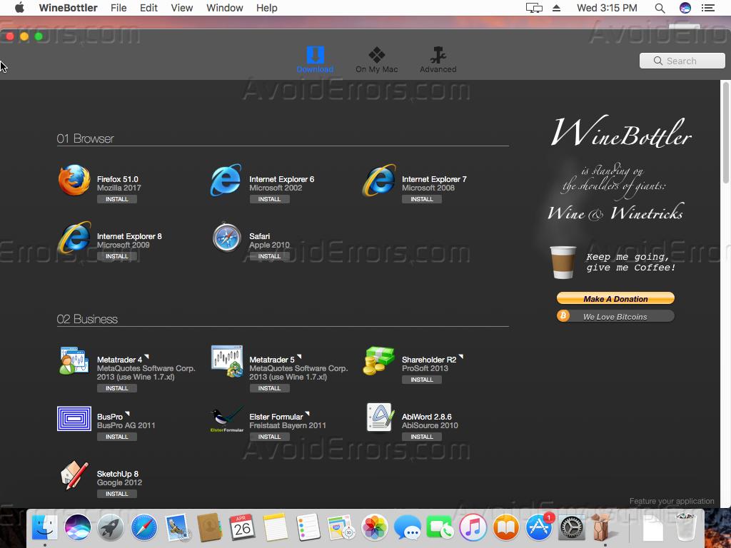 run exe file on mac wine