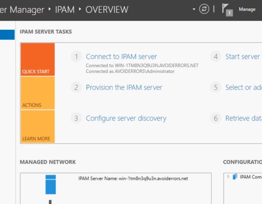 Install and Configure IPAM Windows Server 2016