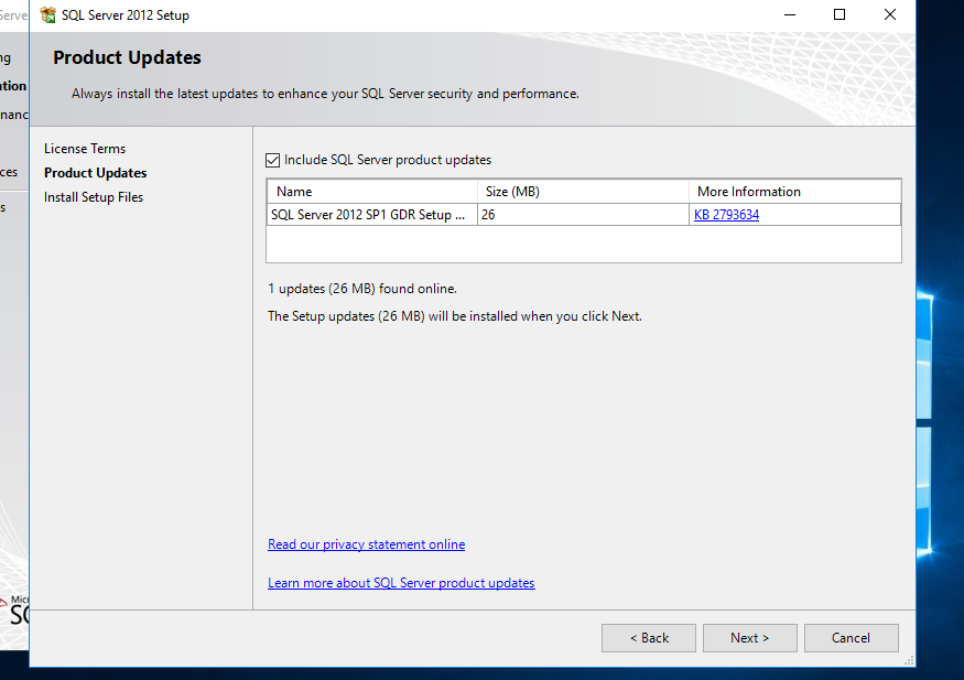 Install SQL Server 2012 Express Windows Server 2016