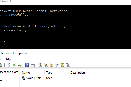 Disable a User Account Windows Server 2016