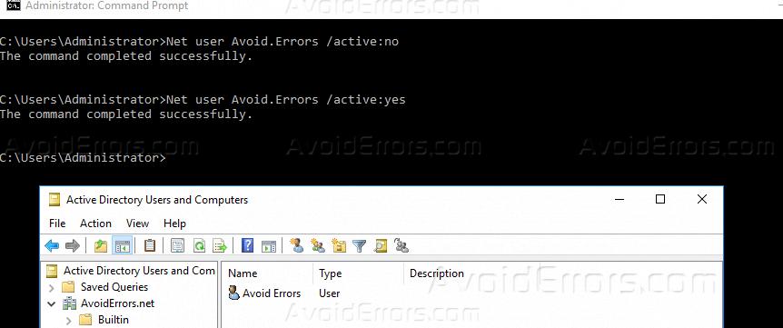 Disable a User Account Windows Server 2016 - AvoidErrors