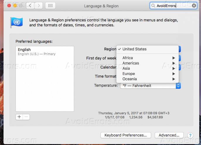 Change the Region and keyboard language on a Mac OS X