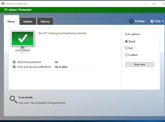 Schedule a Windows Defender Antivirus Scan Windows 10