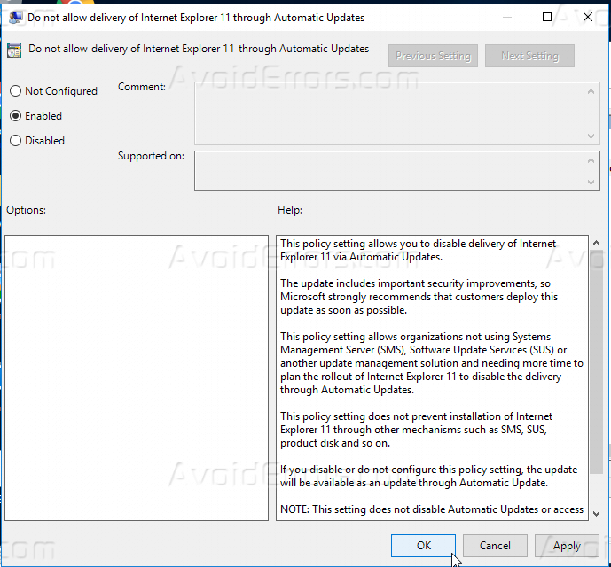 Block ie8 group policy