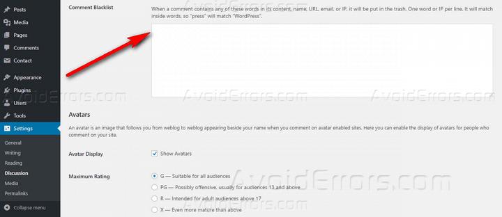 comment backlist contact form