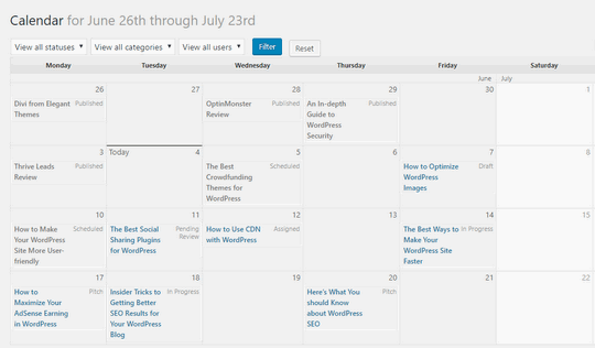 How to Create an Editorial Calendar for Your WordPress Site