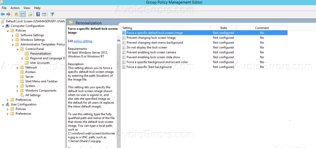 group policy lock screen server 2012
