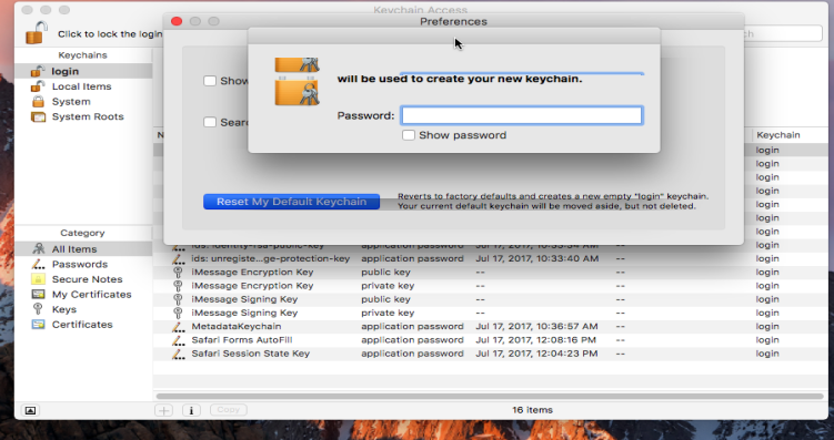 mac keychain reset