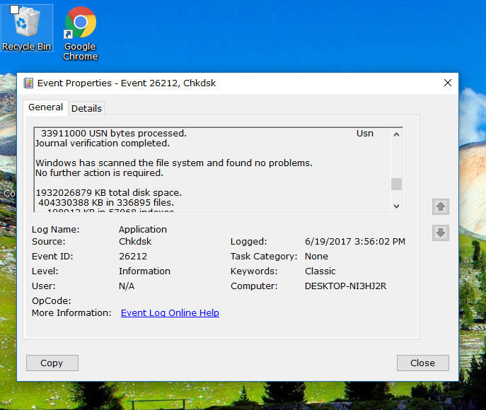 How to Read Event Viewer Log For CHKDSK in Windows 10
