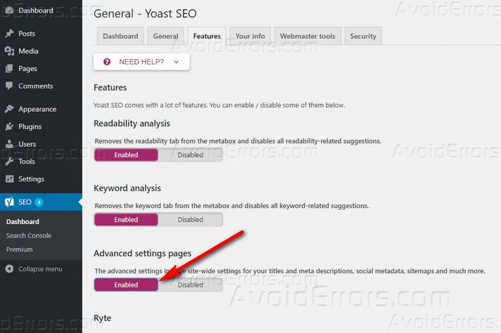 enable advanced dettings yoast seo