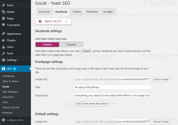 social options yoast seo