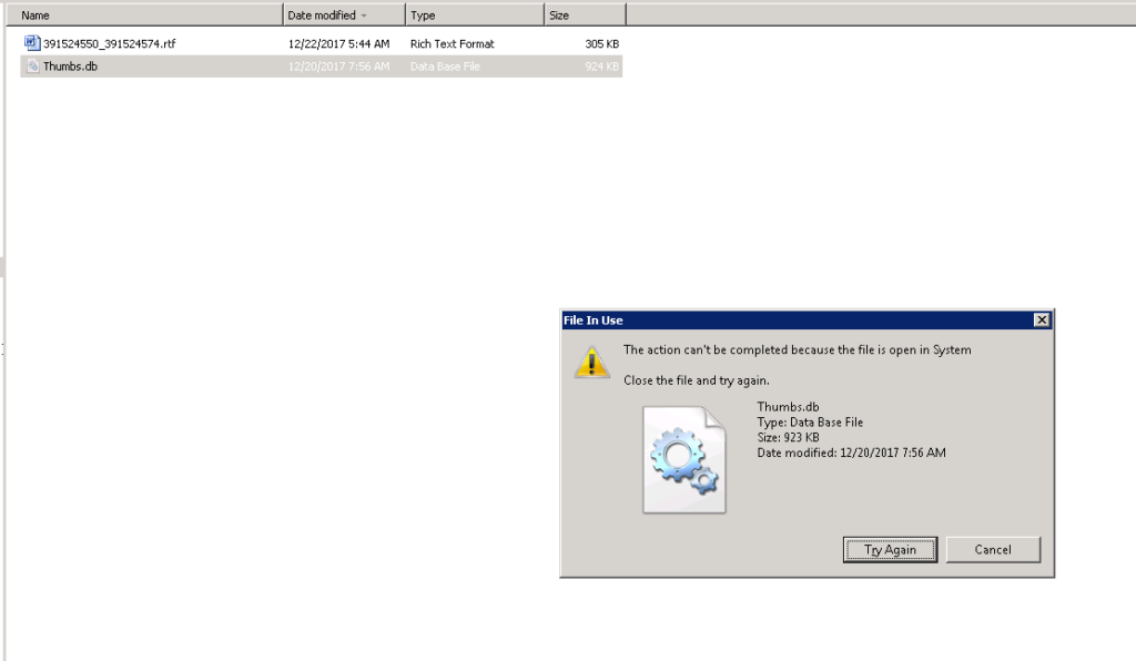 Server 2008 fix The action can\u0027t be completed because the file is