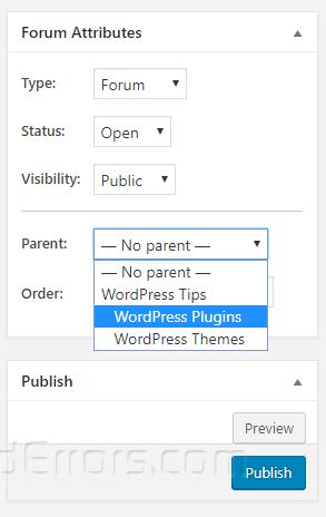bbpress new forum options