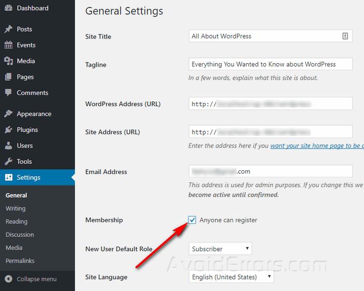 enable user registration